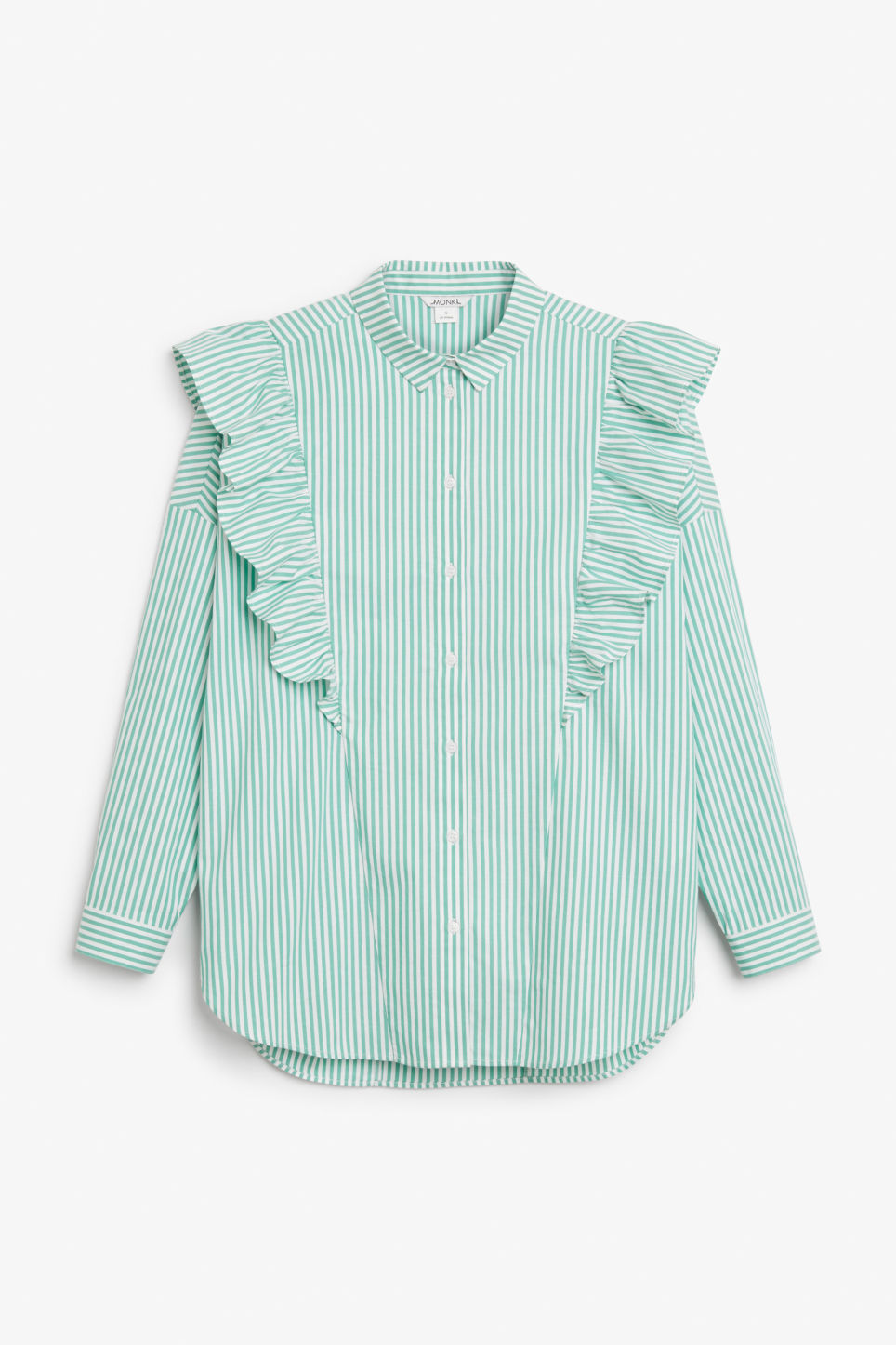 Front image of Monki ruffle button up shirt in green
