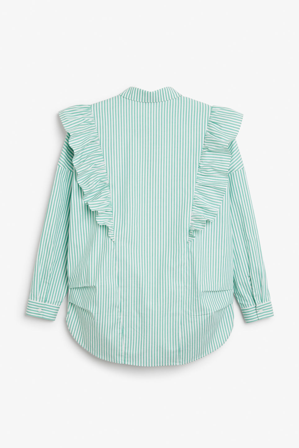 Back image of Monki ruffle button up shirt in green