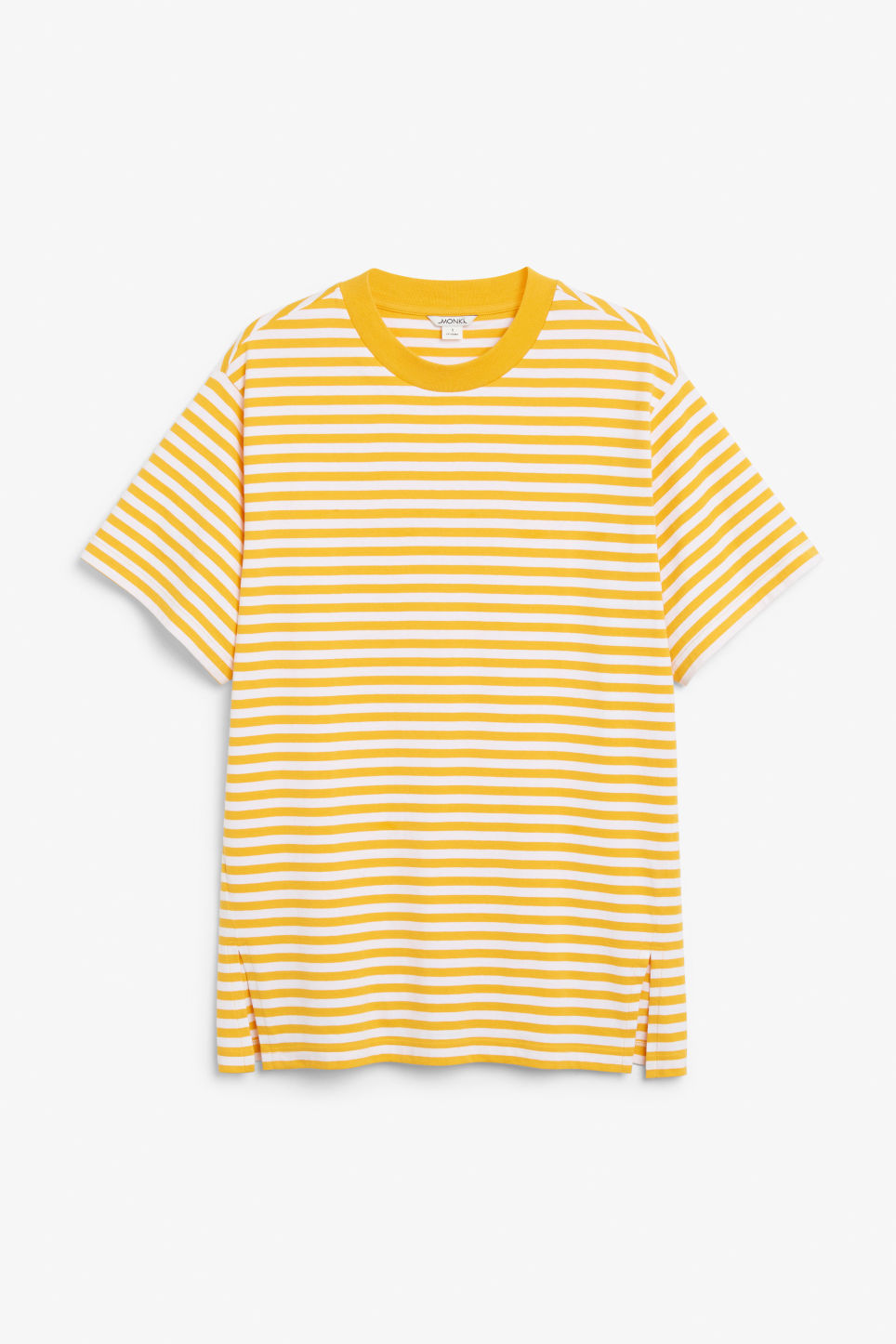 Front image of Monki oversized cotton tee in yellow