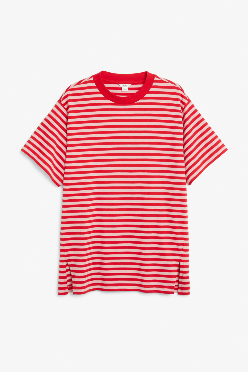 Front image of Monki oversized cotton tee in red