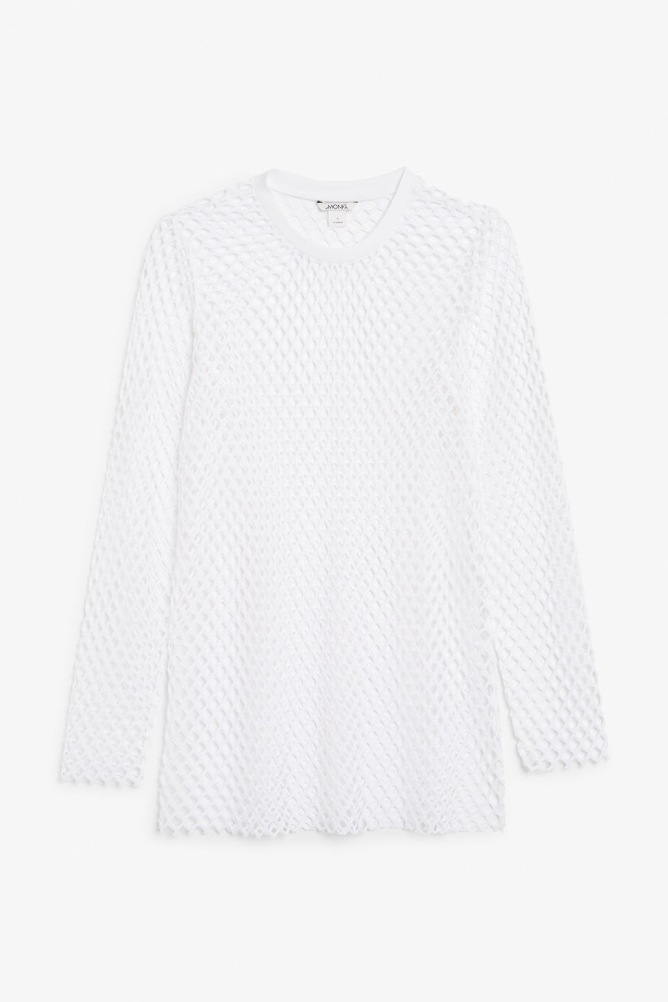 Front image of Monki long fishnet top in white