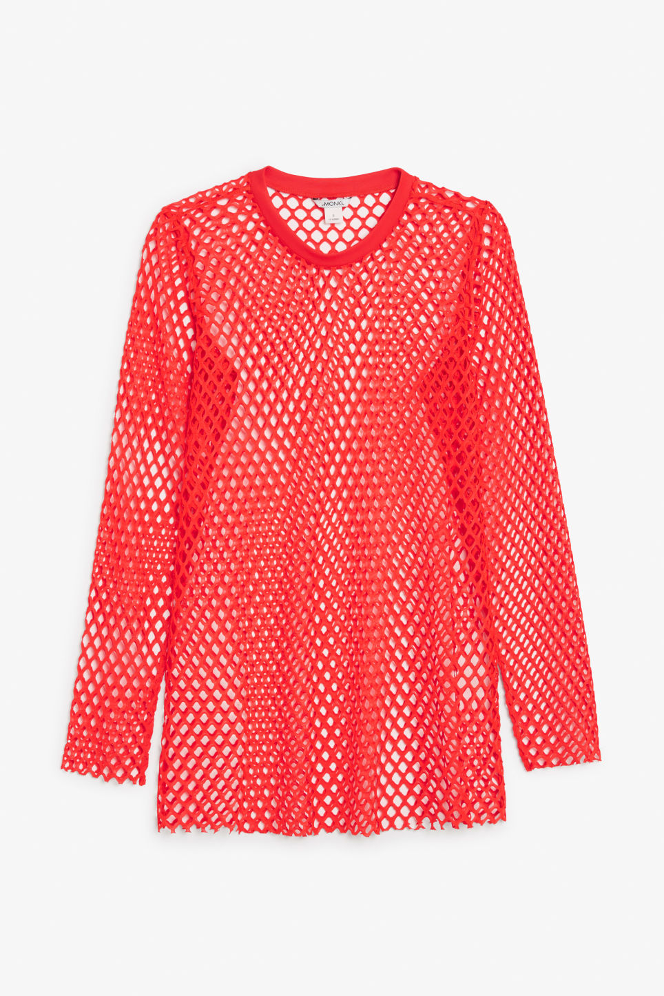 Front image of Monki long fishnet top in red