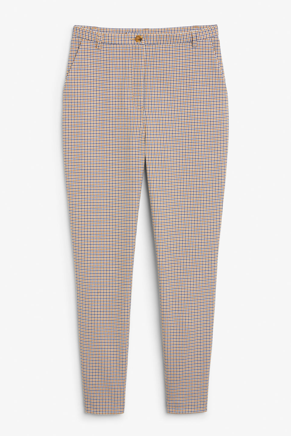 Front image of Monki dressy tapered trousers in yellow