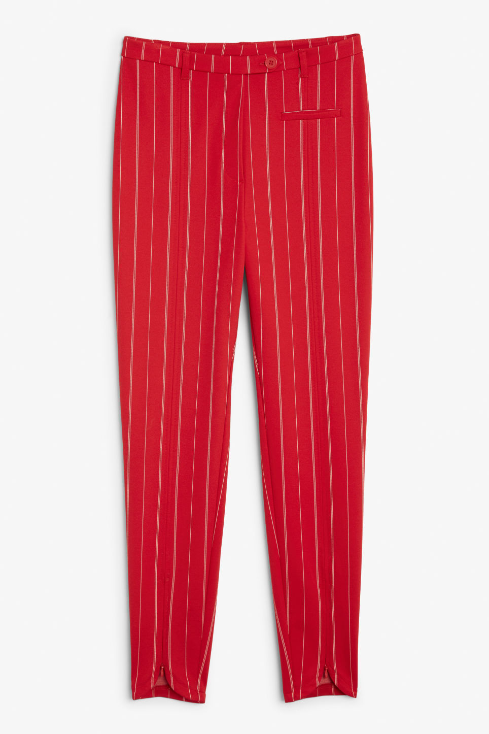 Front image of Monki stretchy striped trousers in red