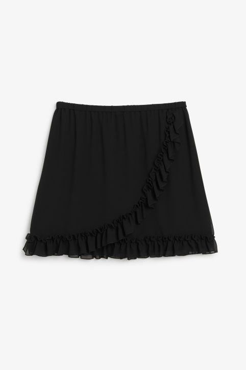 Front image of Monki ruffled wrap front skirt in black