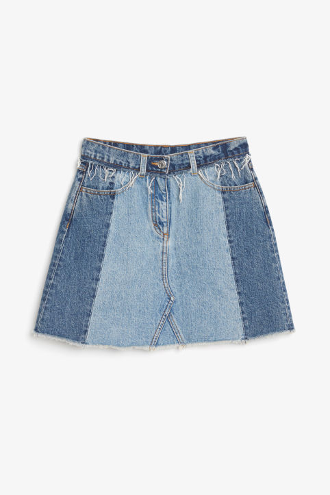 Front image of Monki frayed hem denim skirt in blue