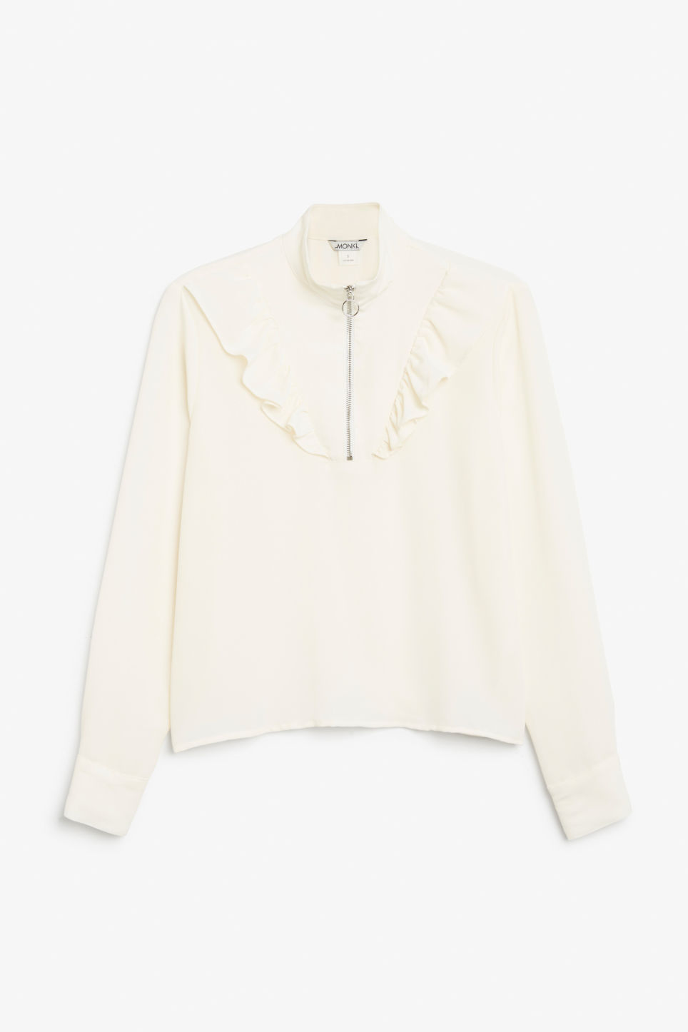 Front image of Monki ruffle zip up blouse in white