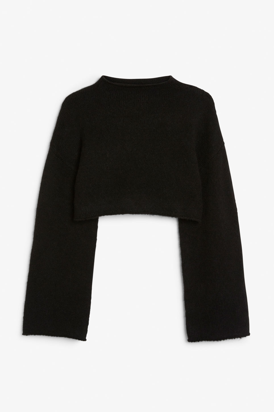 Front image of Monki cropped bell sleeve sweater in black