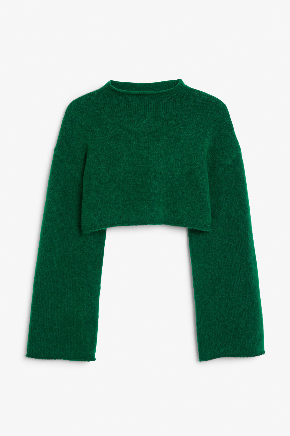 Front image of Monki cropped bell sleeve sweater in green