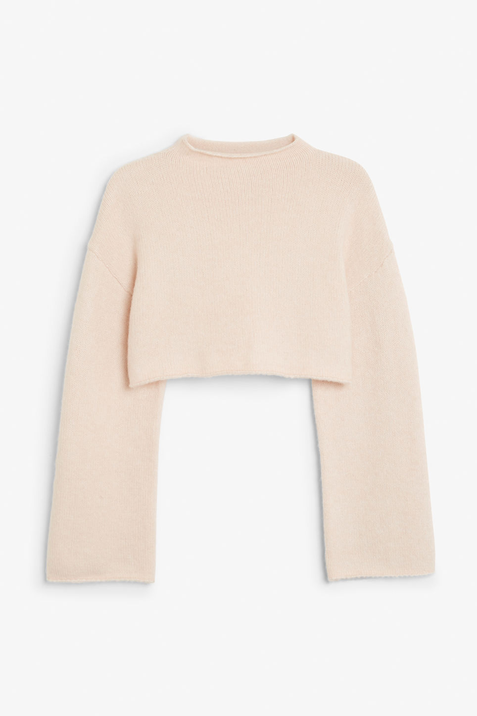Front image of Monki cropped bell sleeve sweater in orange