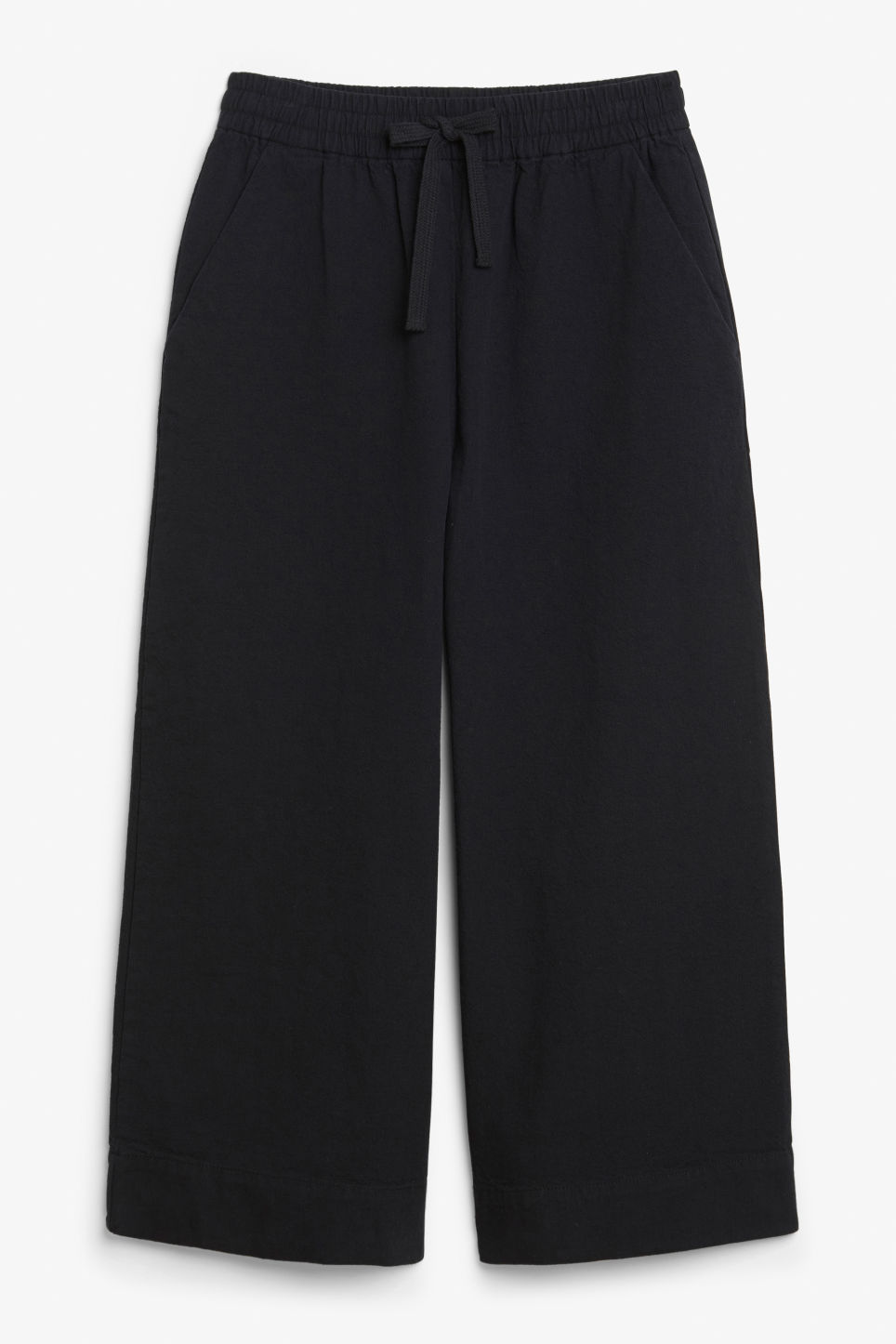 Front image of Monki wide leg canvas trousers in black