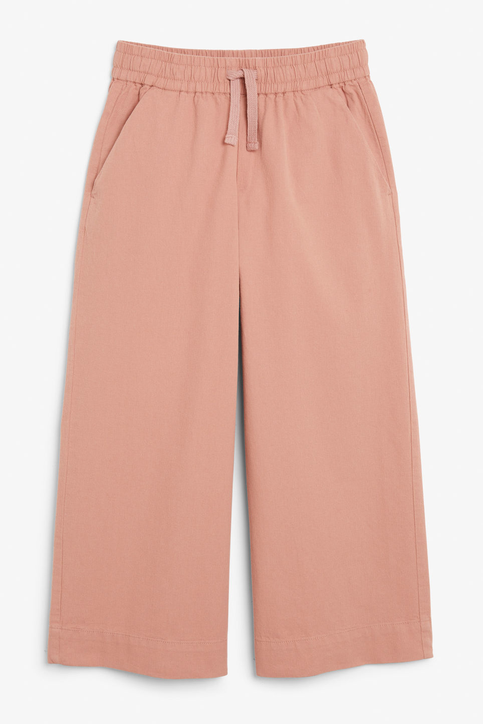 Front image of Monki wide leg canvas trousers in pink