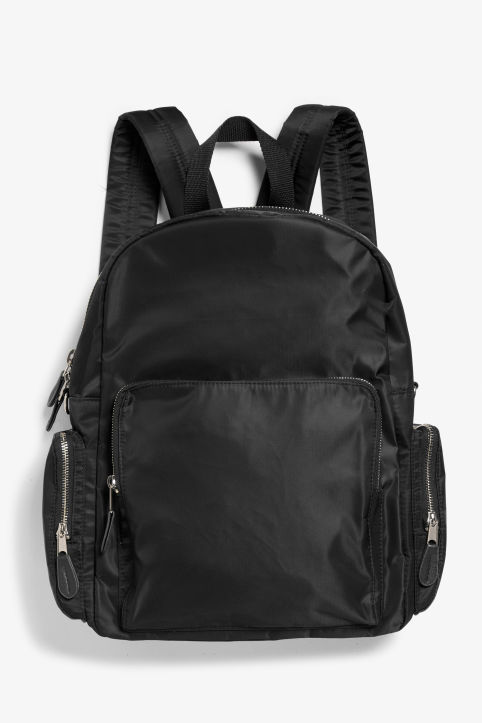 Front image of Monki pocket backpack in black