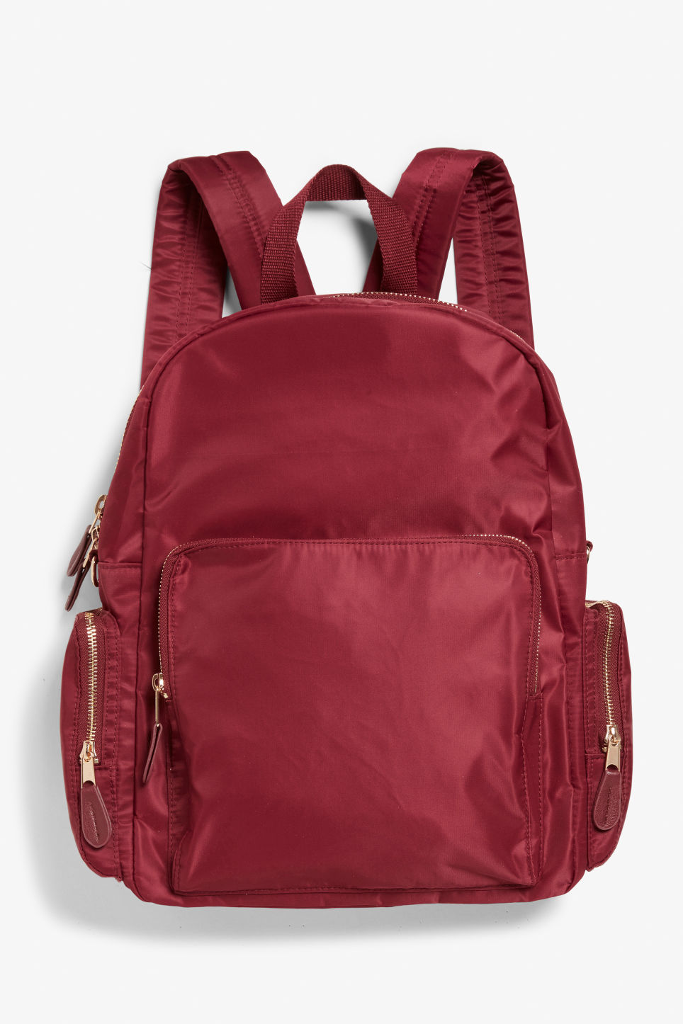 Front image of Monki pocket backpack in red