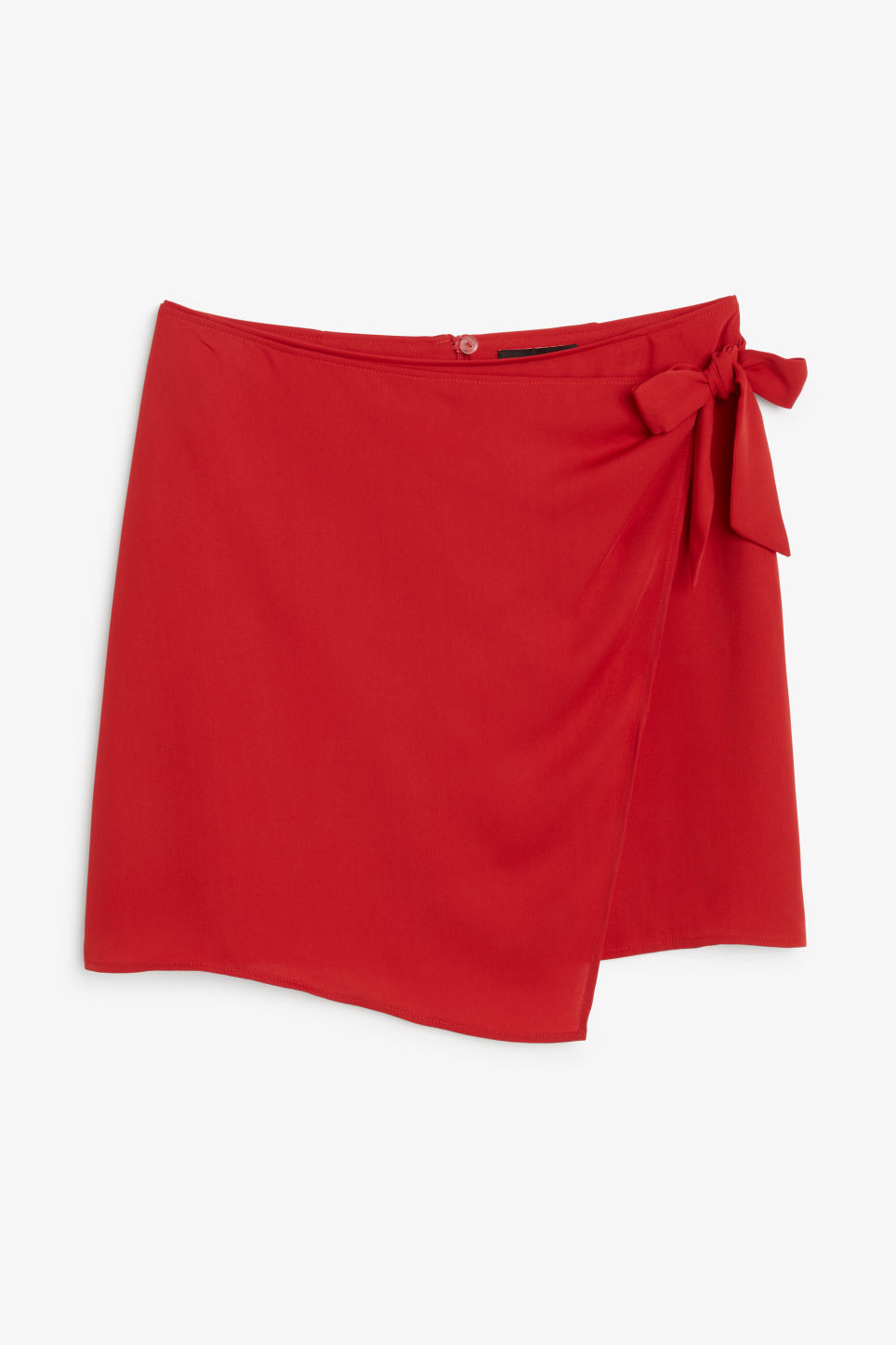 Front image of Monki wrap front skirt in red