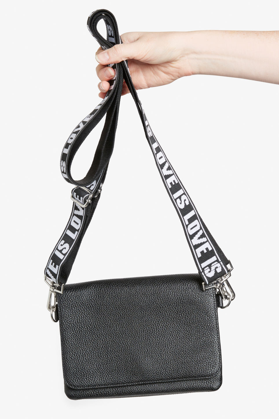 Front image of Monki statement bag in black