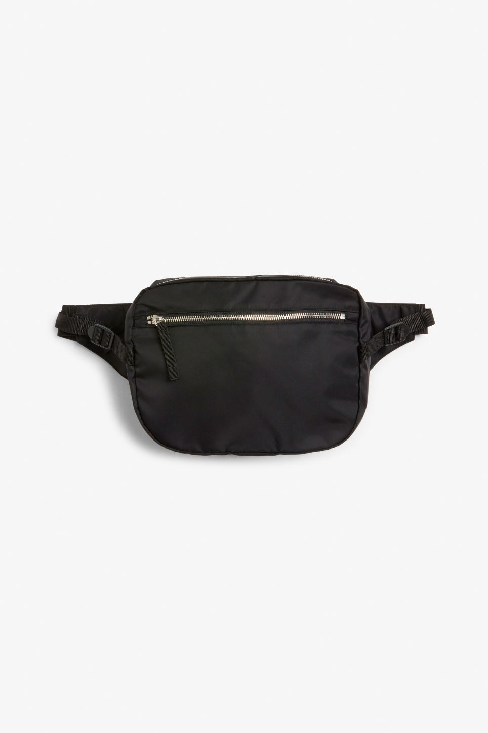 Front image of Monki fanny pack in black