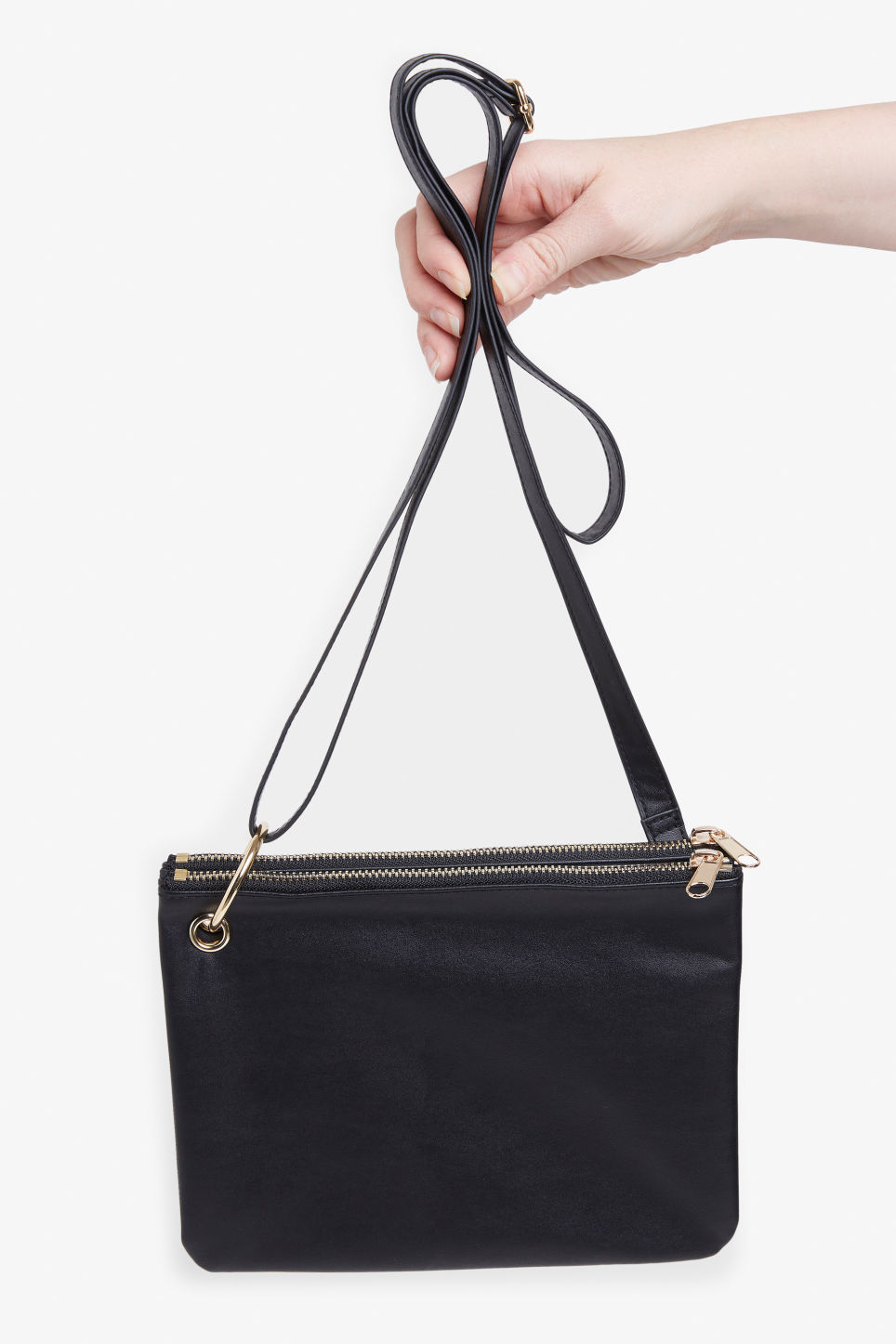 Front image of Monki shoulder bag in black