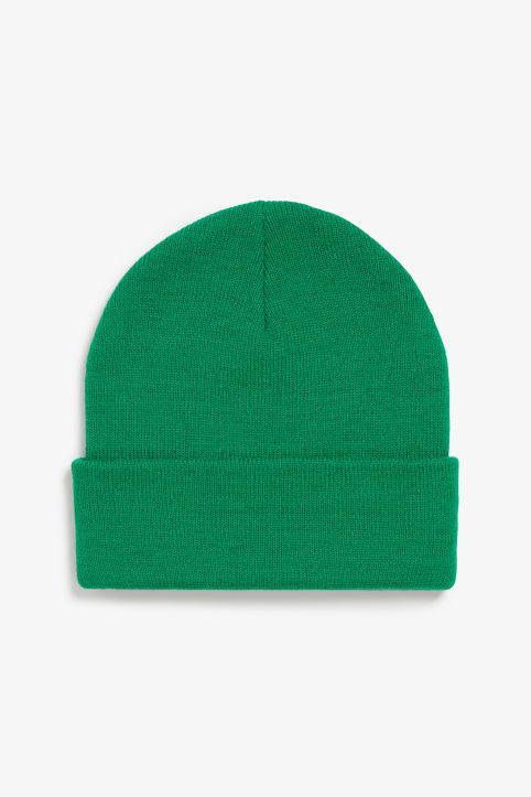 Front image of Monki classic beanie in green