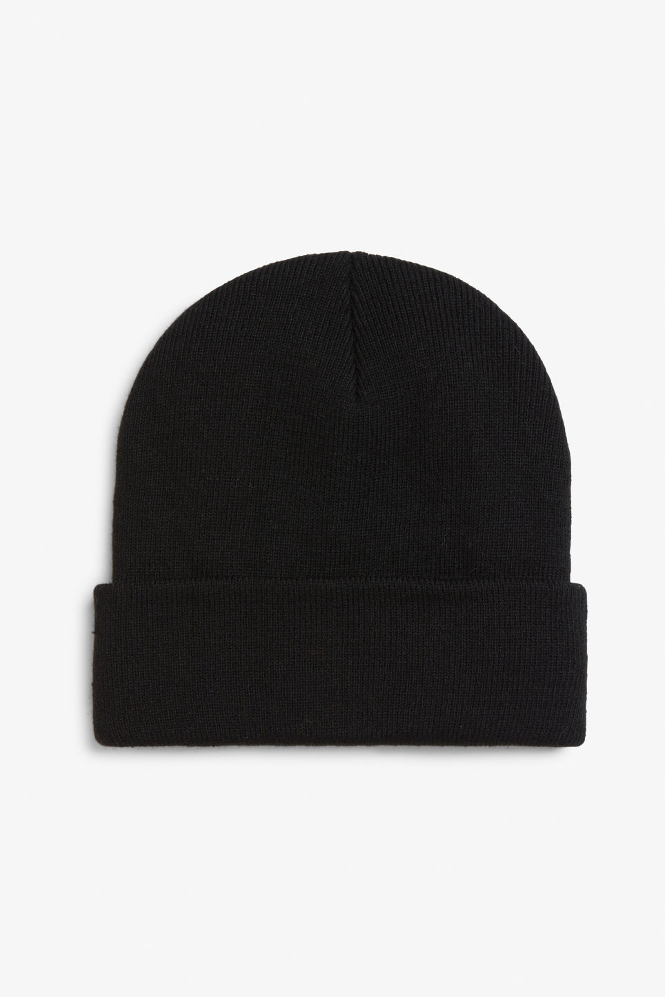 Front image of Monki classic beanie in black