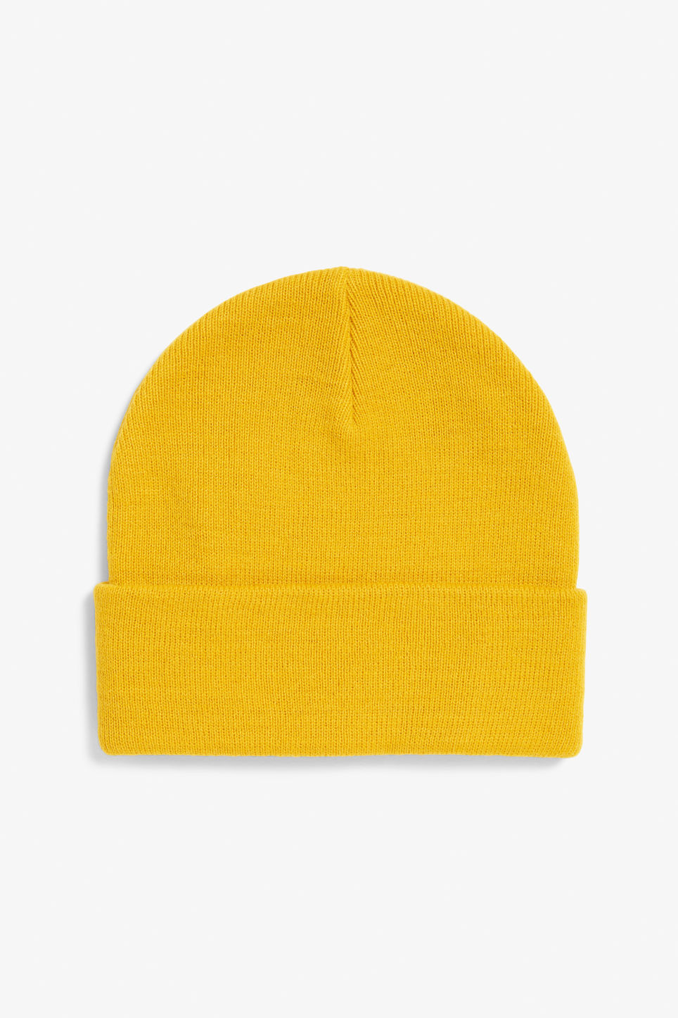 Front image of Monki classic beanie in yellow