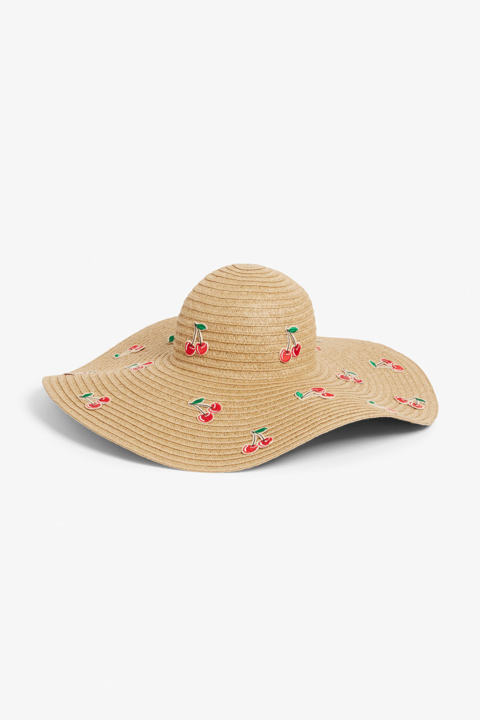 Front image of Monki cherry straw hat in beige