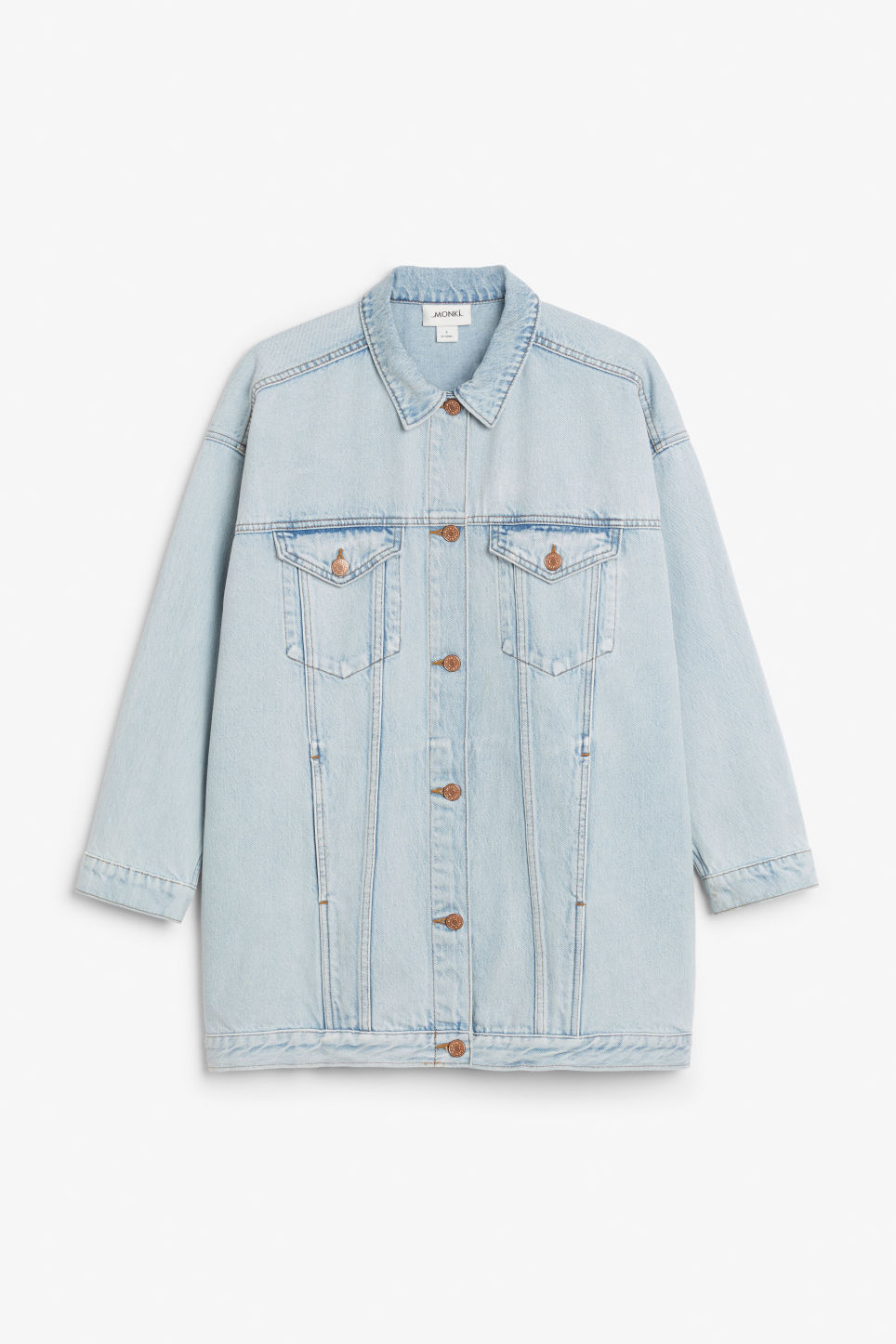 Front image of Monki oversized denim jacket in blue