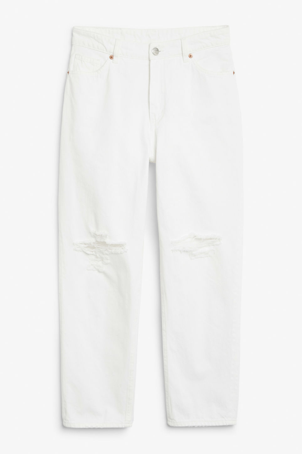 Front image of Monki taiki distressed finish in white