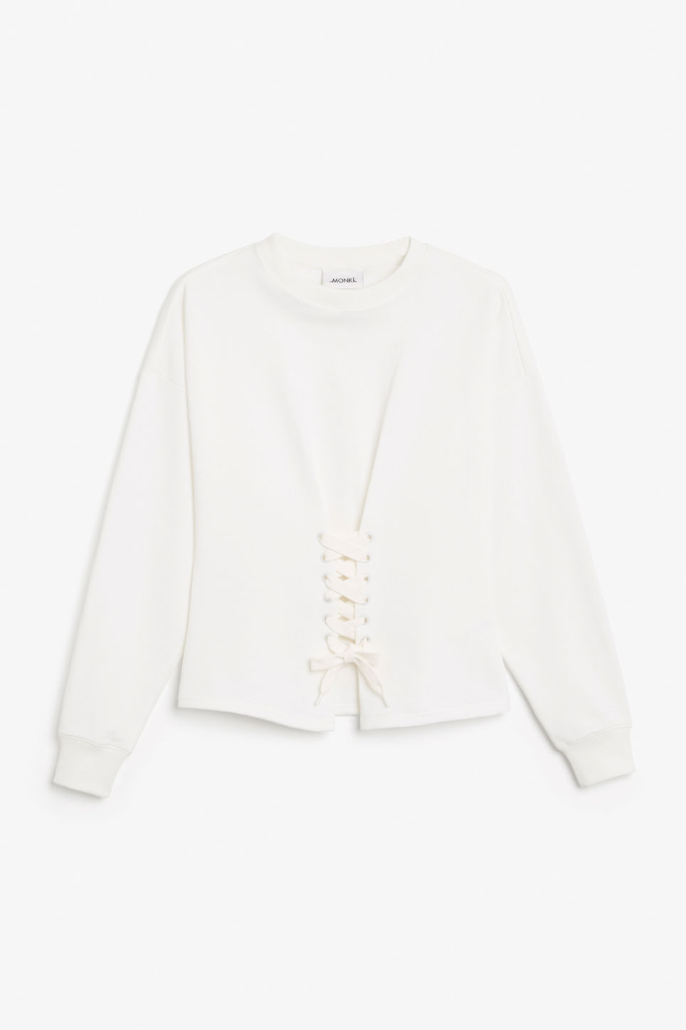 Front image of Monki corset sweatshirt in white