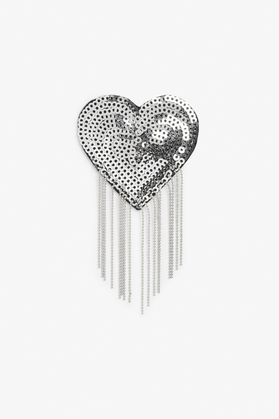 Front image of Monki sequin and fringe patch in silver