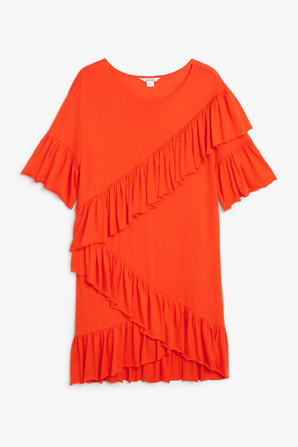 Front image of Monki soft ruffled dress in orange