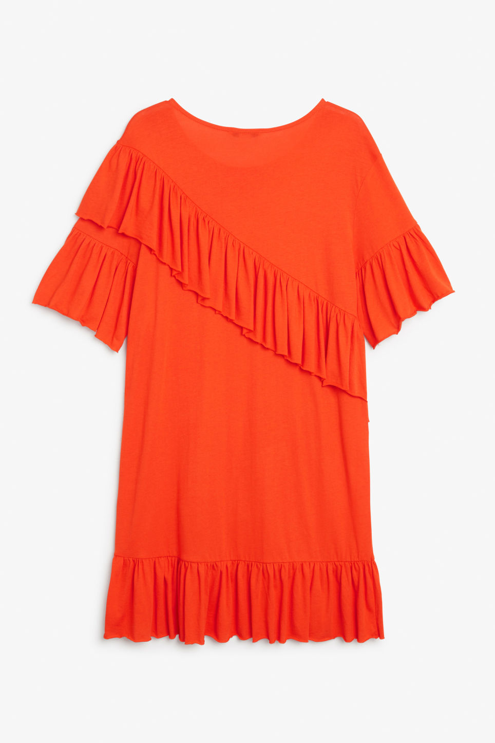 Back image of Monki soft ruffled dress in orange