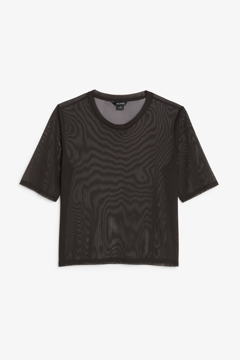 Front image of Monki mesh top in black
