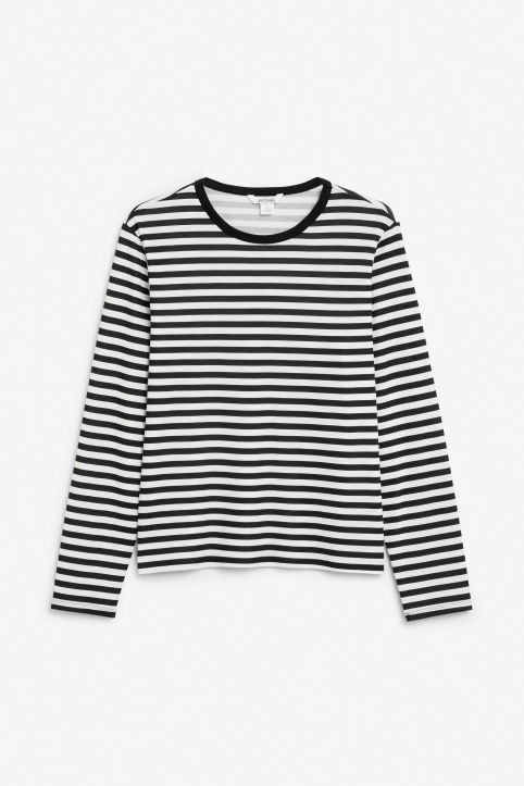 Front image of Monki soft long-sleeved top in black