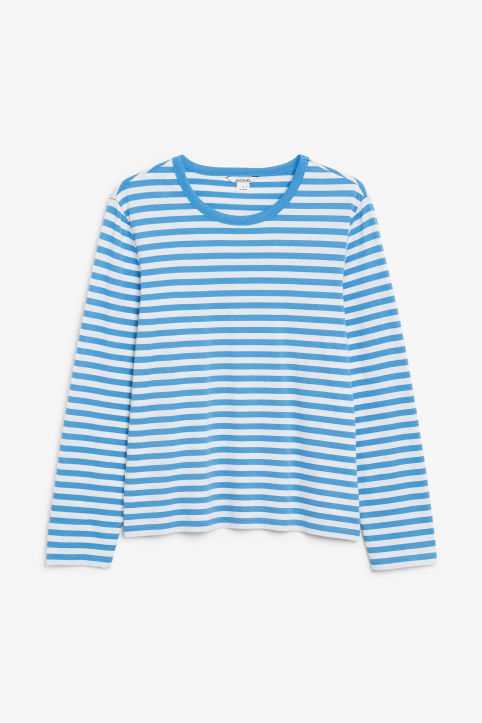 Front image of Monki soft long-sleeved top in blue