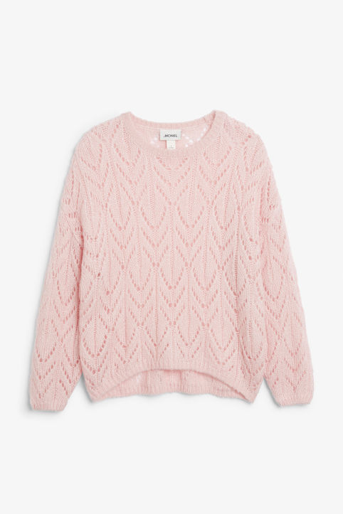 Front image of Monki knit sweater in pink
