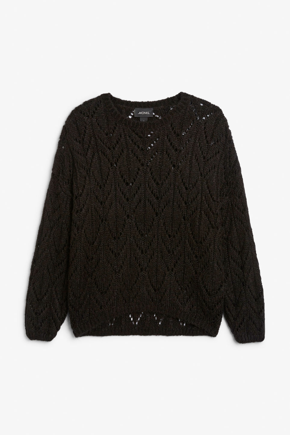 Front image of Monki knit sweater in black