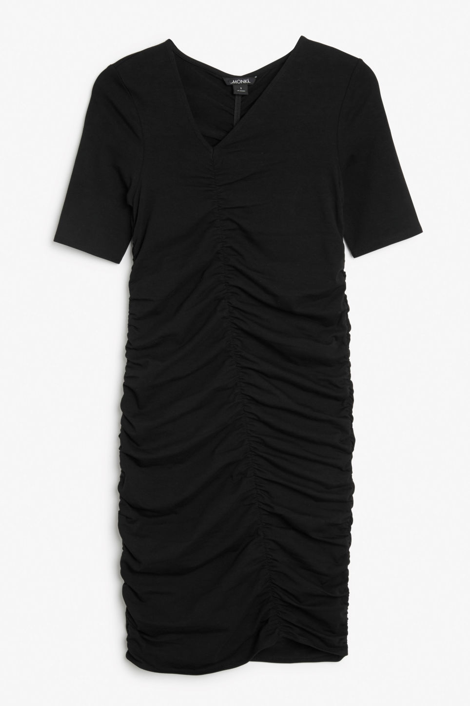 Front image of Monki ruched detail dress in black