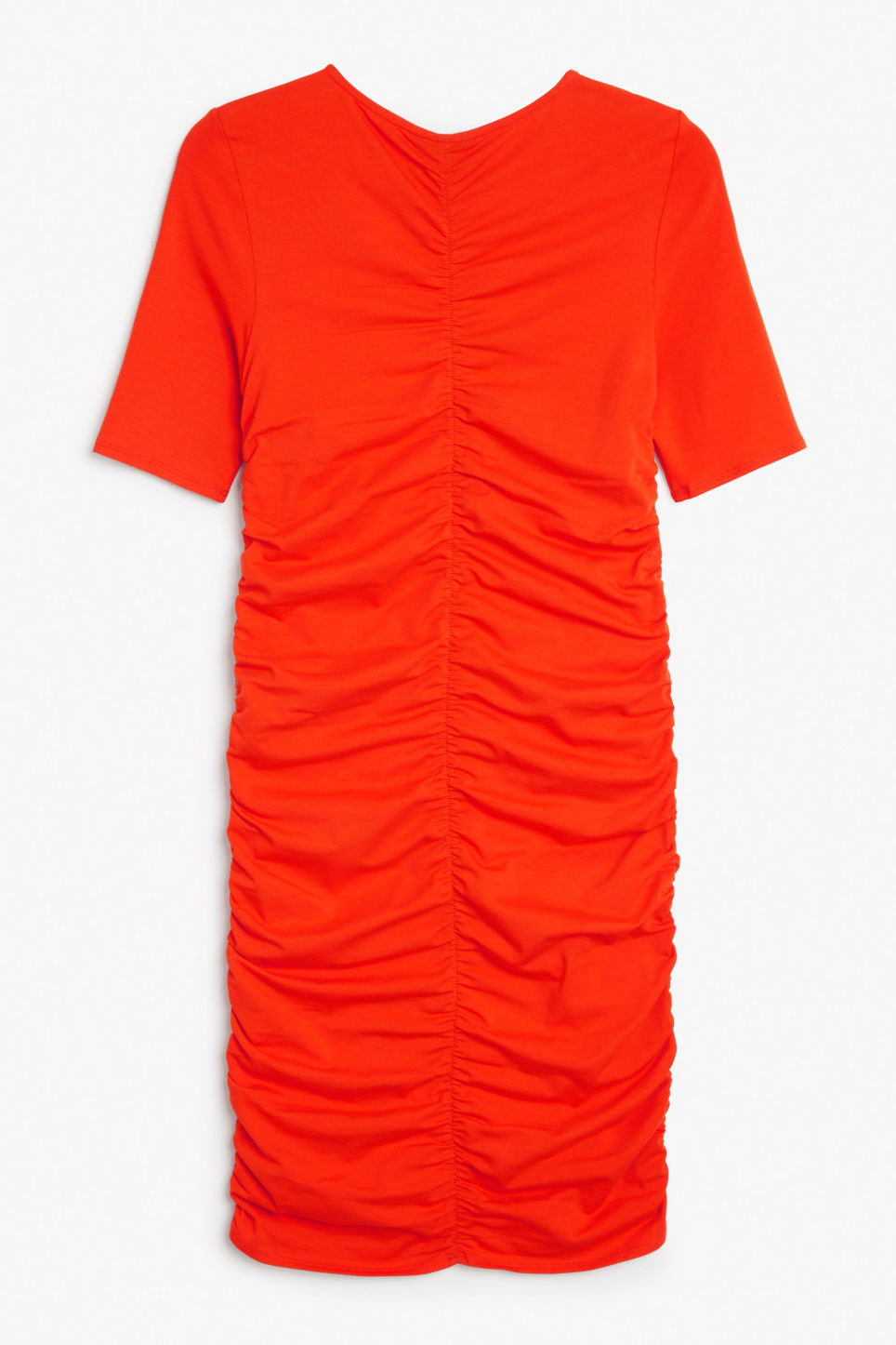 Back image of Monki ruched detail dress in red