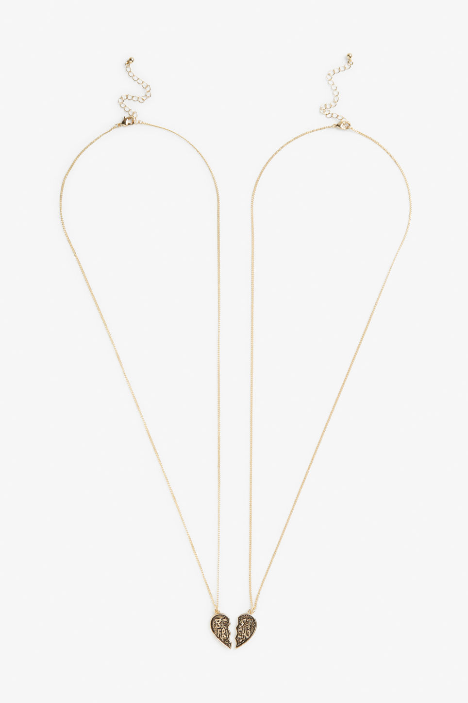 Front image of Monki pack of 2 bff necklaces in gold