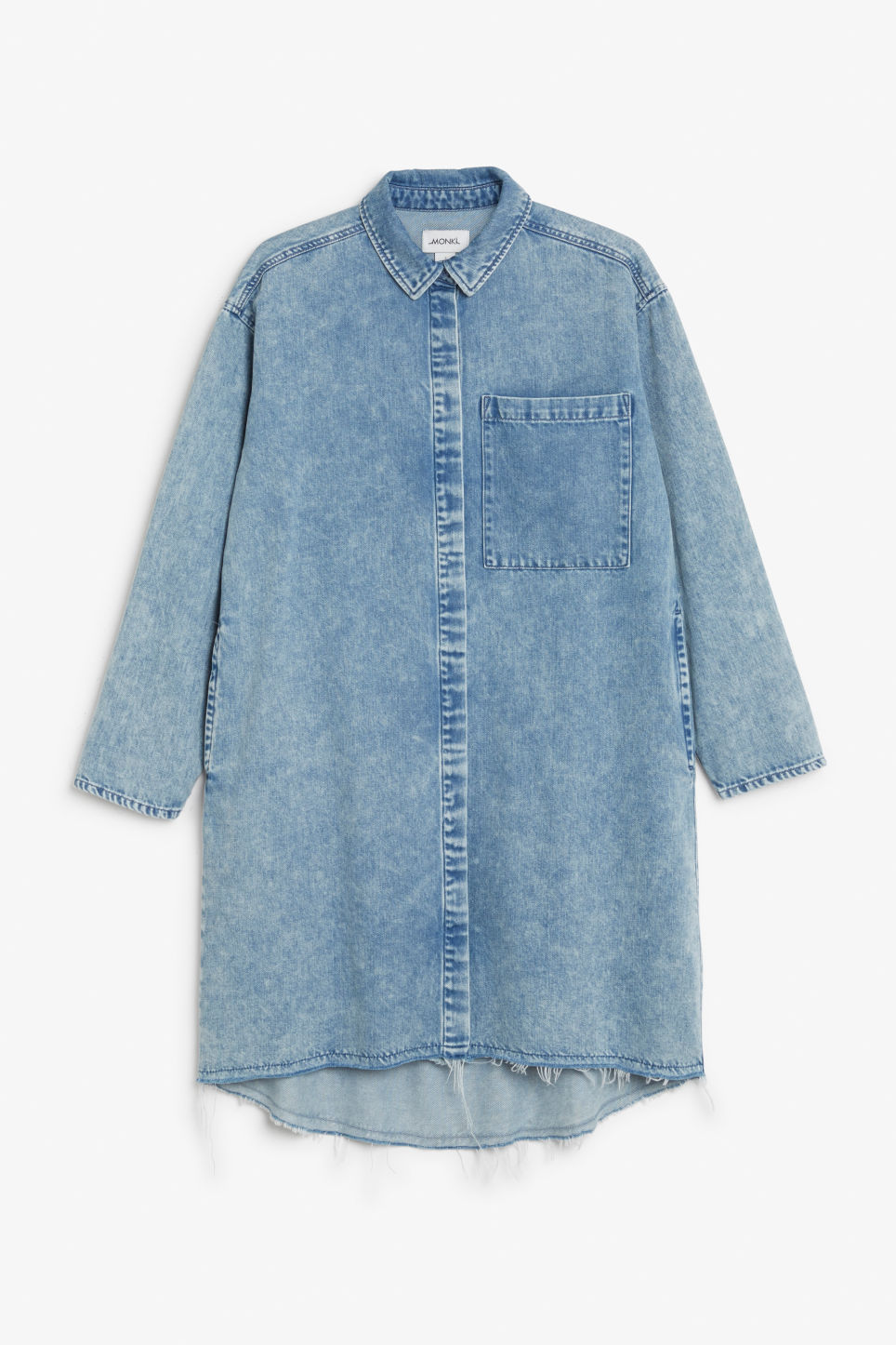 Front image of Monki frayed hem denim shirt in blue