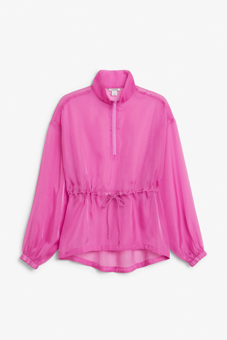 Front image of Monki sheer scuba neck blouse in pink