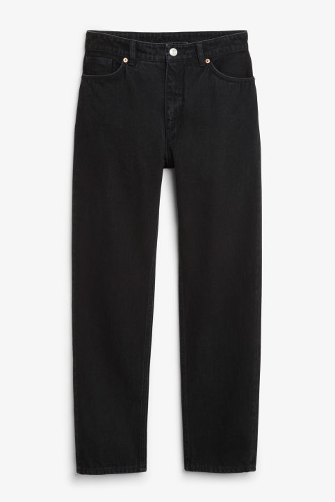 Front image of Monki moluna worn-in jeans in black