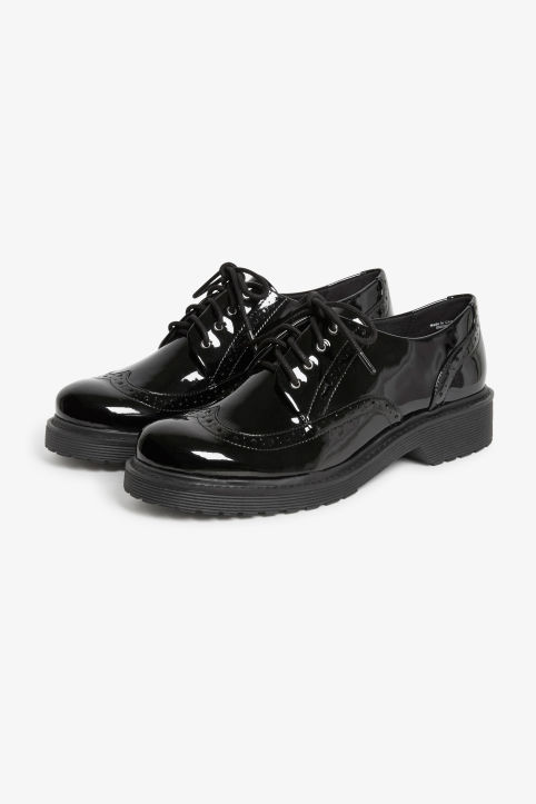 Front image of Monki patent oxford brogue shoes in black