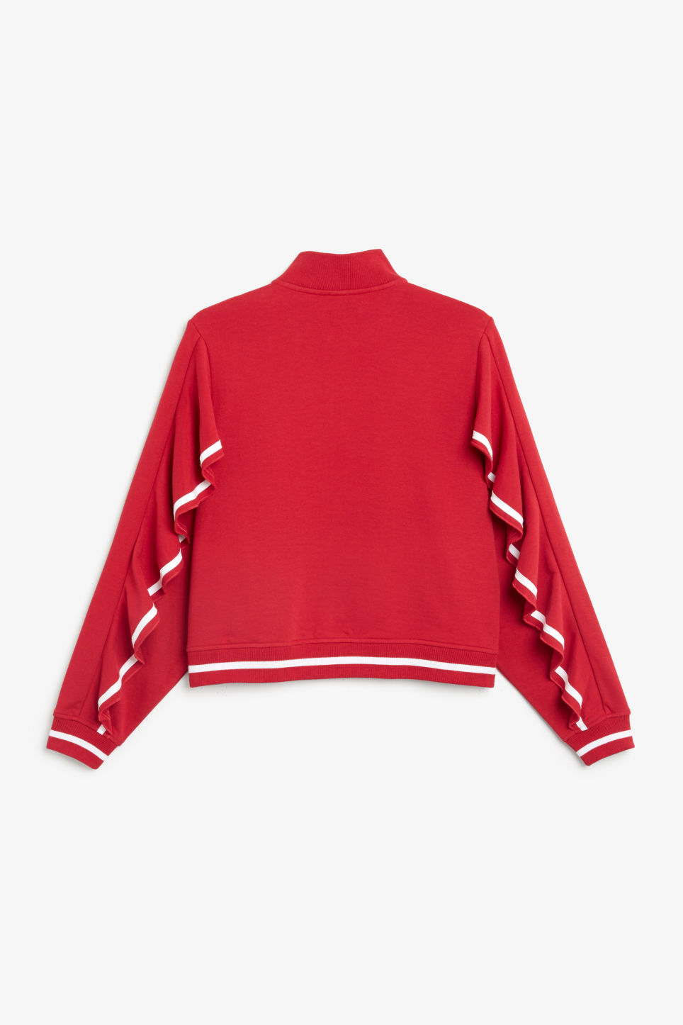Back image of Monki zip ruffle jacket in red