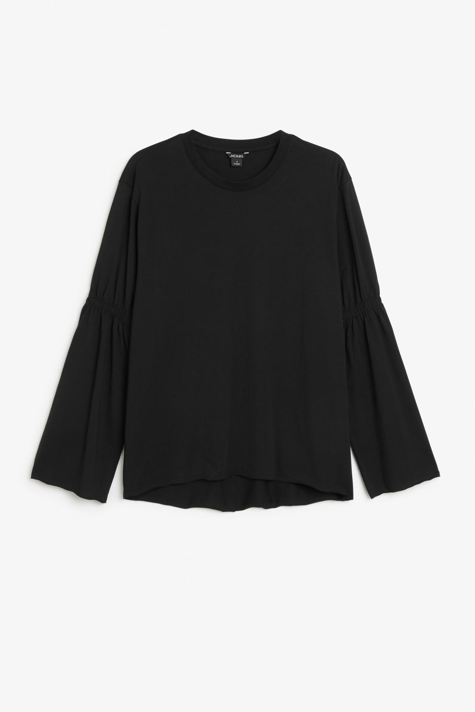 Front image of Monki oversized fluted sleeve t-shirt in black