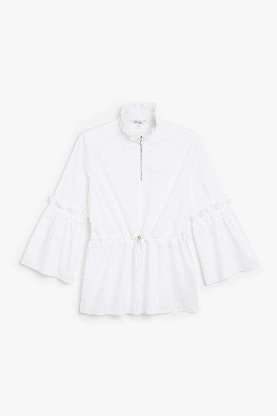 Front image of Monki high neck trumpet sleeve blouse in white