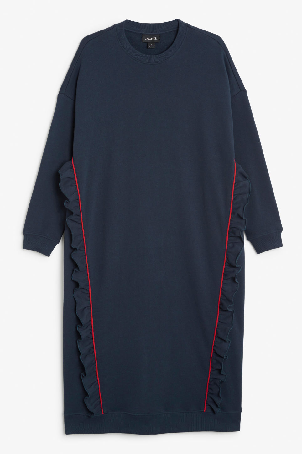 Front image of Monki oversize ruffled sweatshirt dress in blue