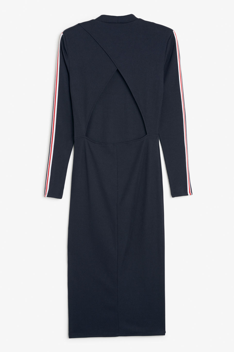 Back image of Monki long dress with cutout back detail in blue