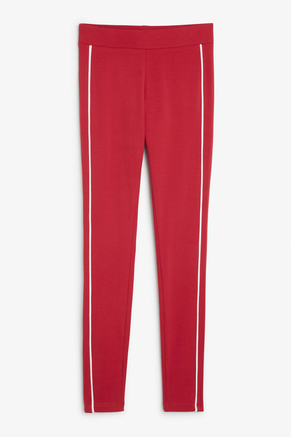 Front image of Monki striped leggings in red